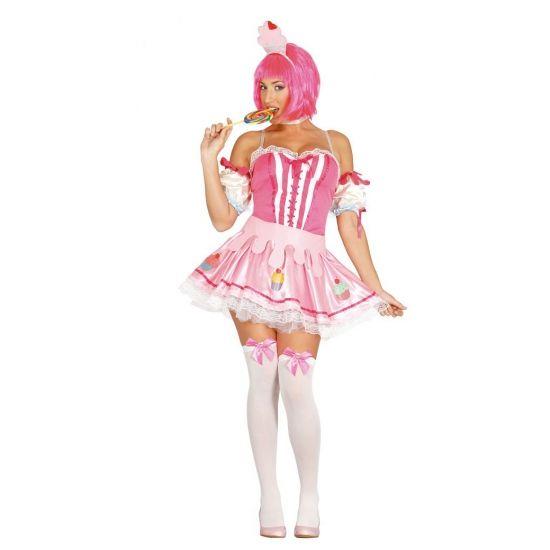 Roze cupcake jurkje voor dames. Zoet cupcake jurkje in het roze met bijpassende diadeem. One size, valt ongeveer als maat M.