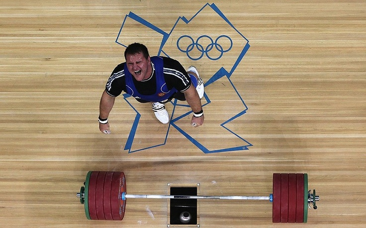 Ruslan Albegov of Russia reacts during the Men's +105kg Weightlifting final on Day 11 of the London 2012 Olympic Games