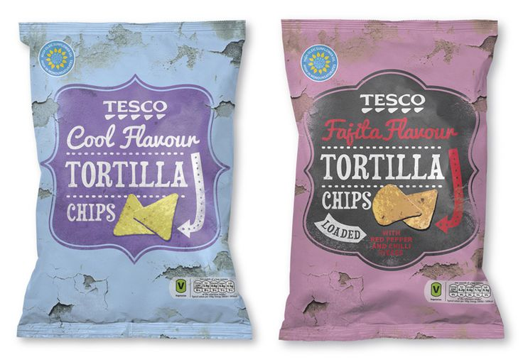 Packaging with hand drawn type detail for Tesco Tortilla Chips designed by Buddy
