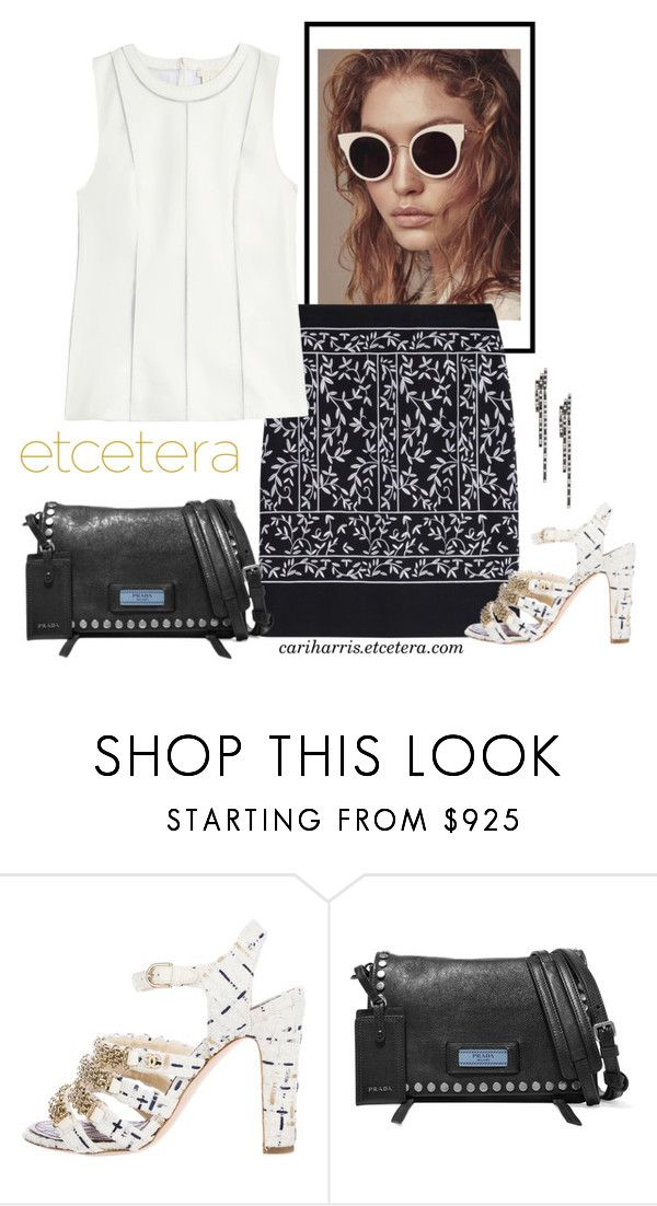 """""""Etcetera Spring 2018: Iceberg Leather and Mesh Shell with Vines Stretch Cotton Skirt"""" by timirac on Polyvore featuring Chanel, Prada and Eva Fehren"""