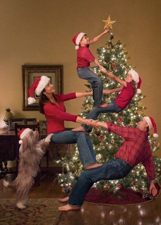 family photo idea for 2013 Christmas, photo of family making a human pyramid of tree, creative Christmas family pictures