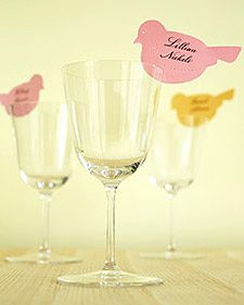 Bird table cards. Cut out birds, make a hole for the eye or draw it on and make a slit to add to tour glassware. And of course, add name... Would be nice to embellish the bird too. #table_setting #bird #DIY #table_cards