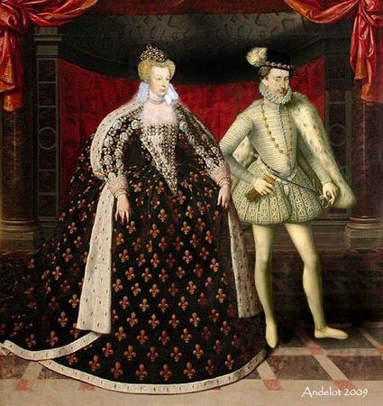 Wedding of Marguerite & Henri IV 4/11/1572 - Marguerite de Valois Daughter of King Henry II of France & Catherine de' Medici.- Ce mariage auquel s'était opposé Jeanne d'Albret dans un 1° temps, a été arrangé pour favoriser la réconcilitation entre catholiques et protestants. Comme Marguerite de Valois, étant catholique, ne peut se marier que devant un prêtre, et que Henri ne peut entrer dans une église, leur mariage fut célébré sur le parvis de Notre-Dame. S'ensuivirent plusieurs jours de…