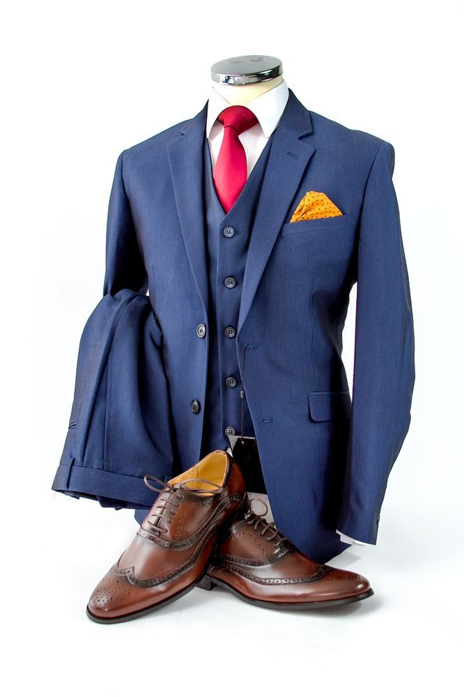 MENS ROYAL BLUE 3 PEICE SUIT WEDDING PARTY PROM TAILORED SMART