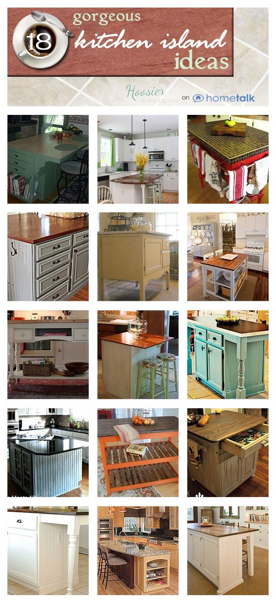 18 gorgeous kitchen island ideas! Most are DIY. Click through for the full projects.
