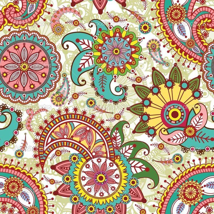 nahtlose Muster mit Paisley und Blumen - Stockilllustration: 8043425
