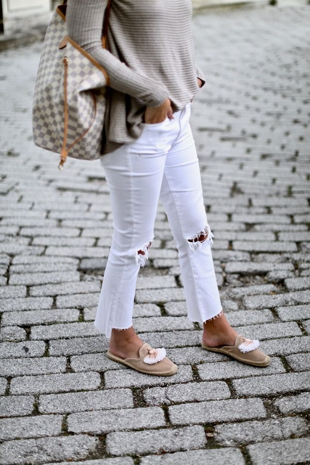 Comfy + chic neutral look via For All Things Lovely | Top: Free People | Denim: MOTHER | Shoes: Soludos | Handbag: Louis Vuitton 'Neverfull GM' | Sunglasses: Cèline