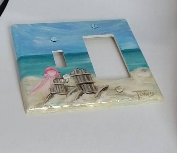 Nautical Beach Light Switch Plates Outlet Covers Seashell Beach