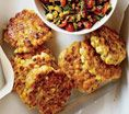 Corn Fritters With Spicy Zucchini Salsa: Recipes: Self.com : Self Magazine - Serves 4, 279 Cal - 3 fritters/each