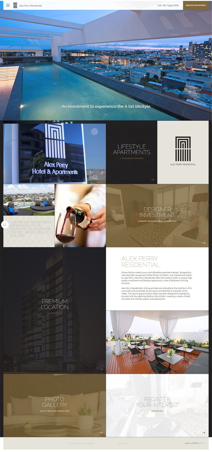 "New stylish website for Alex Perry Residential ""Where fashion meets luxury and affordable apartment design""  Website  http://www.alexperryresidential.com/"