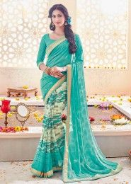Party Wear Sky Blue Georgette Printed Saree