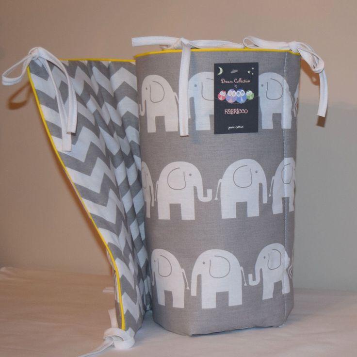 Cot Bed Bumper Grey White Chevron Zig Zag  Elephants Girls & Boys  Bedding