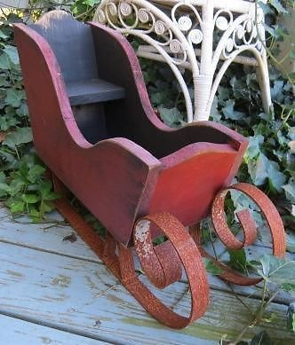Antique Lancaster PA Barn Wood Christmas Sleigh Sled Repurposed Folk Art Display in Collectibles, Antiques | eBay