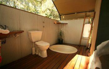 Open bathroom in Paperbark Camp Tent - magical.