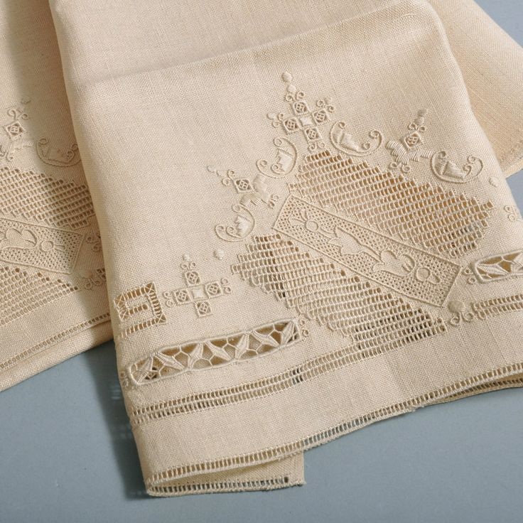 Vintage Pair Linen Tea Towels - Beautiful Handwork - NOS