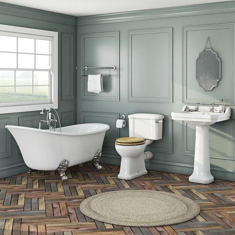 The Bath Co. Camberley oak suite with Elegant Elsie bath | VictoriaPlum.com