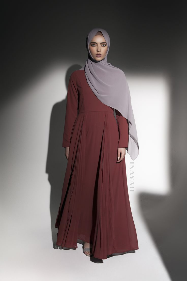 INAYAH | Contemporary gowns with side pleat detailing - Rust #Gown with Pleated Inserts + Taupe Soft Crepe #Hijab www.inayah.co