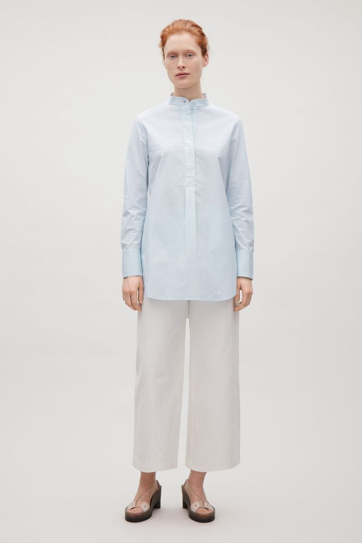 Long grandad collar shirt - Powder Blue - Essentials - COS GB