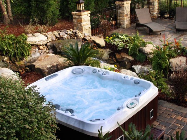 27 best images about spa landscaping on pinterest for Spa pool garden ideas