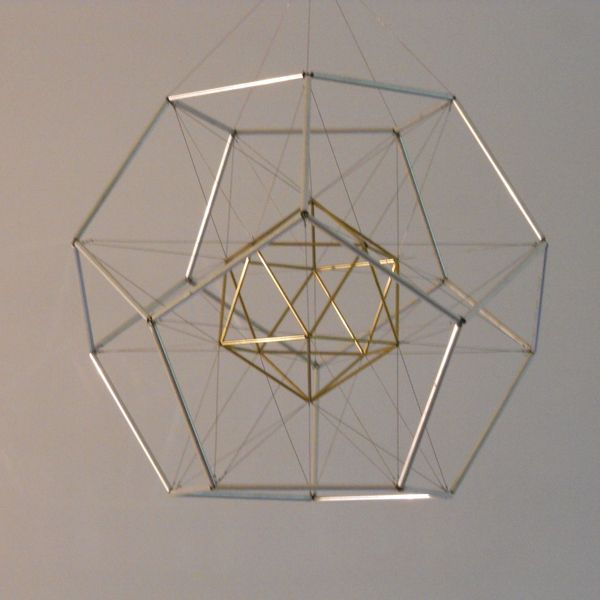 "Dodecahedron with Icosahedron Suspended Inside 13"" x 13"" x 13"" brass and aluminum tubing and steel wire 2008"