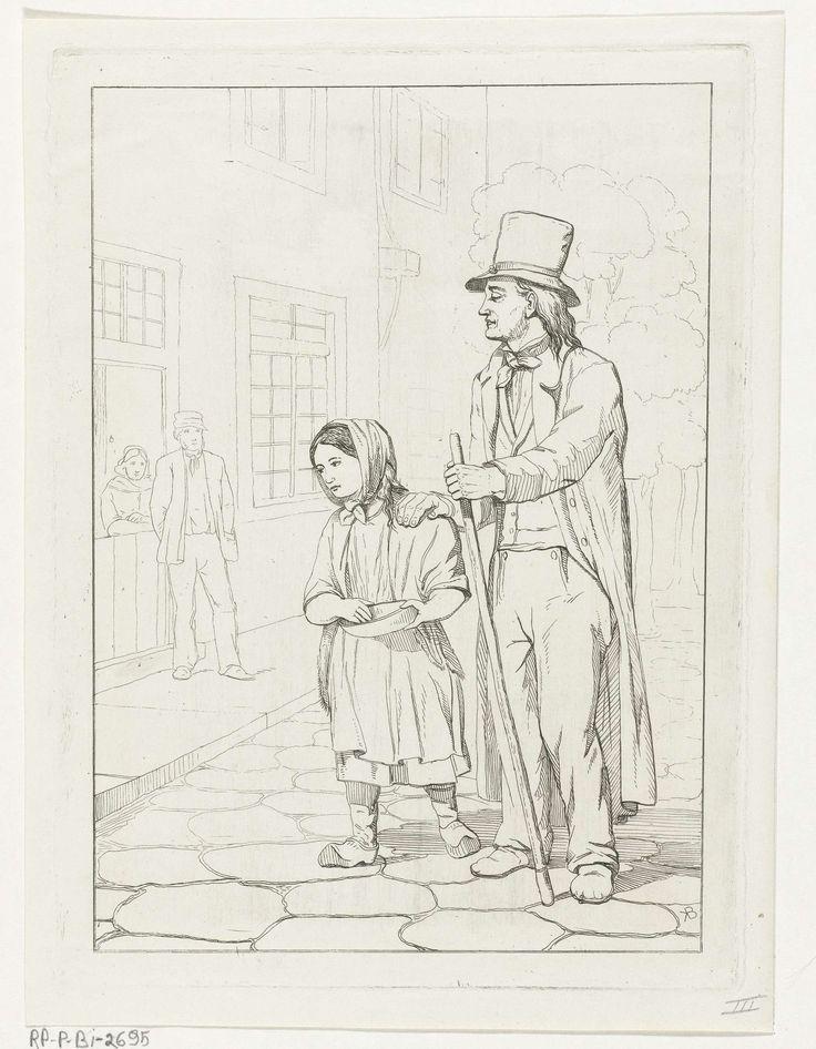 Karel Frederik Bombled | Bedelaars, Karel Frederik Bombled, 1832 - 1902 | Een man en een jong meisje, alle twee in lompen gekleed, lopen langs een geplaveide straat. Het meisje heeft een bedelkom bij en lijkt zich naar een paar te begeven dat vanaf de stoep toekijkt.