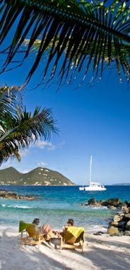 Frenchman's Hotel - British Virgin Islands - Dive Options - Hotel Guests Relax on the Resorts Pictueresque BVI Beach