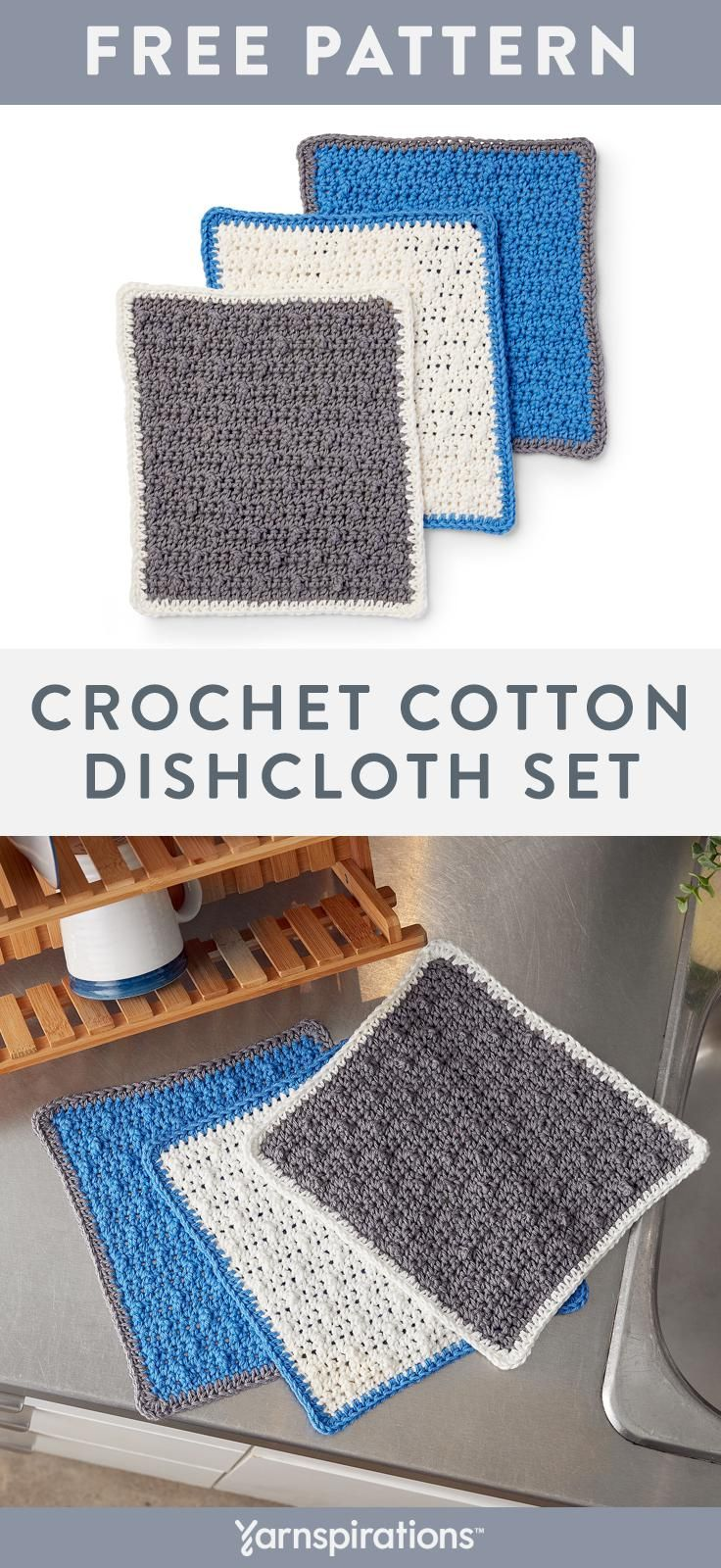 These absorbent 100% cotton dishcloths feature a textured ...