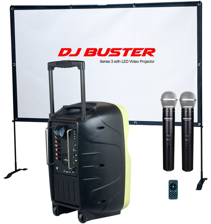 Worlds First Powered Speaker with Wireless Microphone and In-Built Video Projector, watch movies, corporate presentations, karaoke mp4 compatible. OH and it has rechargeable battery with bonus portable projector screen.
