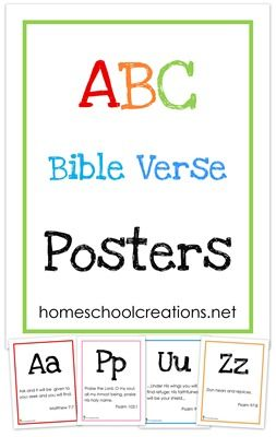 "ABC Bible Verse wall posters - a verse for each letter of the alphabet. Prints 8 1/2"" x 11"" in size."