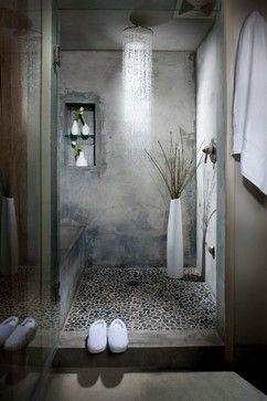 Amazing concrete shower bathroom.