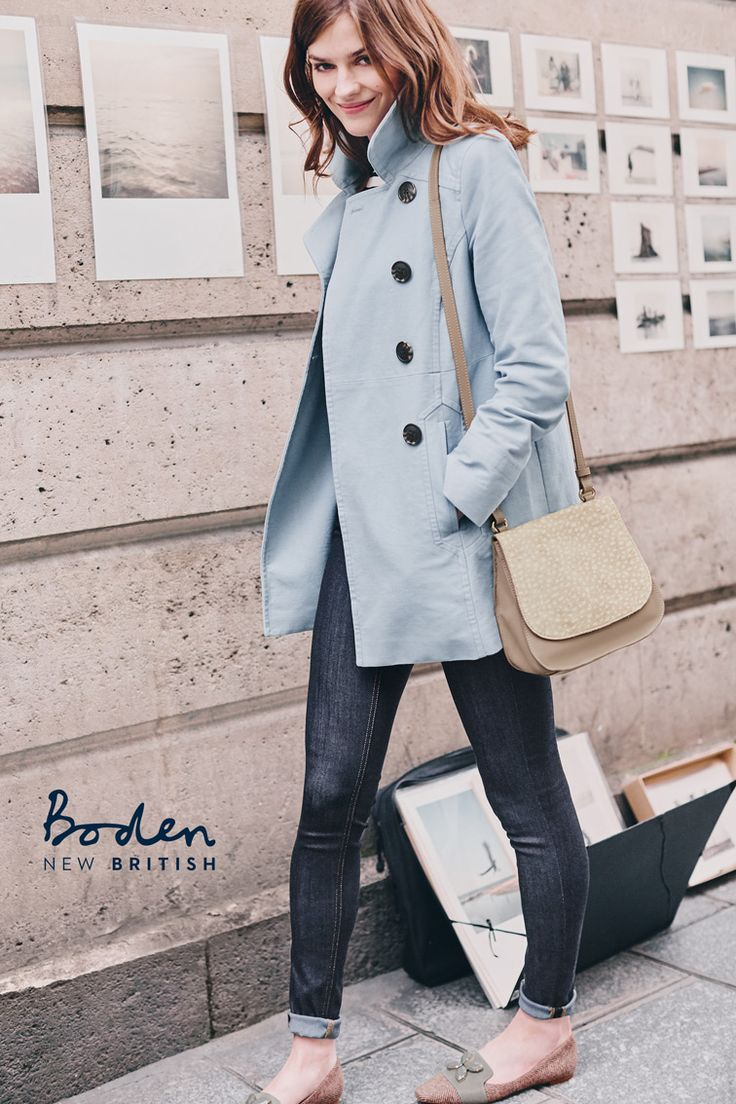 The subtly flared shape of this double-breasted coat is perfect for layering over new Fall outfits. We love the flattering and feminine semi-fitted cut. And its moleskin fabric will easily take you from your desk to after-work cocktails with the girls.
