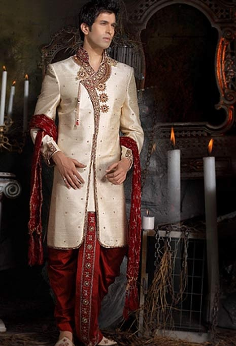 Cream Pure Silk Angrakha Style Sherwani with Dhoti Online Shopping: MCD339
