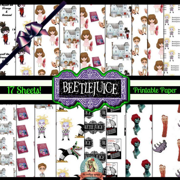 BeetleJuice Printable Paper, BeetleJuice Paper, Beetle Juice Printable, BeetleJuice Art, BeetleJuice Clipart, Tim Burton, Maitlands by WalkingMombieDesign on Etsy