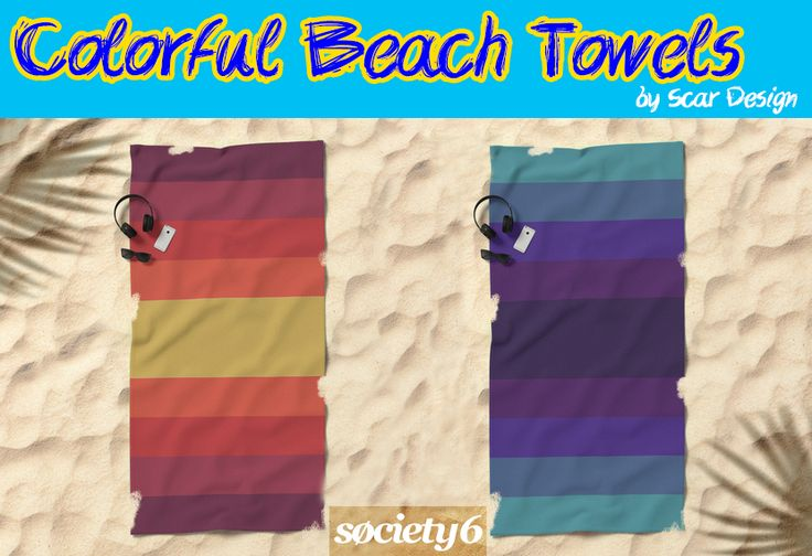 Colorful Beach Towels by Scar Design #beach #towels #colorful #colors #summer #summer2017 #summergifts #giftsforhim #giftsforher #beachtowels