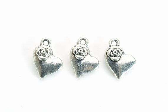 antique silver heart charms - heart charms for necklaces - small silver charms - small silver charms for bracelets - size 14x10mm -20pcs