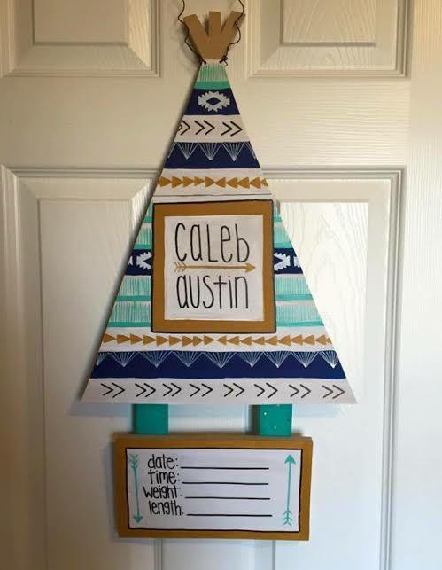Birth door hanger, birth announcement, tribal nursery decor, tribal door hanger…