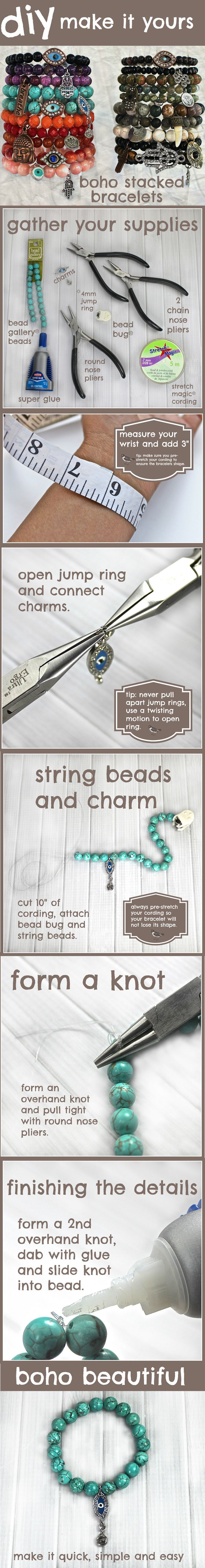 Learn to make professional-quality stacking bracelets with semi-precious turquoise stones, fun charms that are easy to personalize and stretch cord!