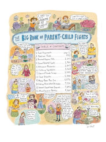 Roz Chast / The New Yorker Collection / www.cartoonbank.com Possible parent-child conflicts are categorized in Table of Contents of new book. 'Big Book of Parent-Child Fights' -- Issue Publication Date: 01/11/199