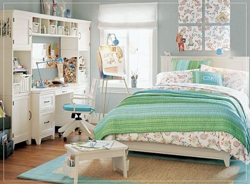 girls teen bedroom decorating ideas gray blue green pb style - Teenage Bedroom Styles