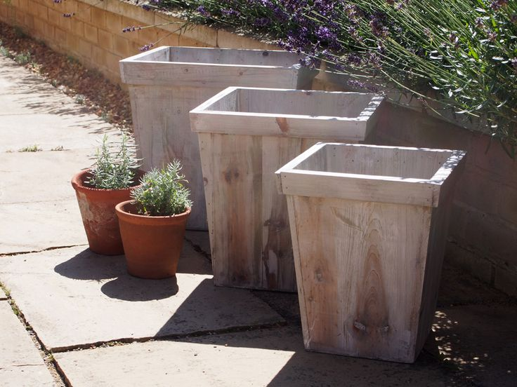 Large Wooden Planters | Rustic Grey Wash Wood Planters