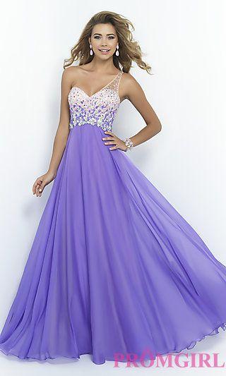 Floor Length One Shoulder Dress by Blush at PromGirl.com