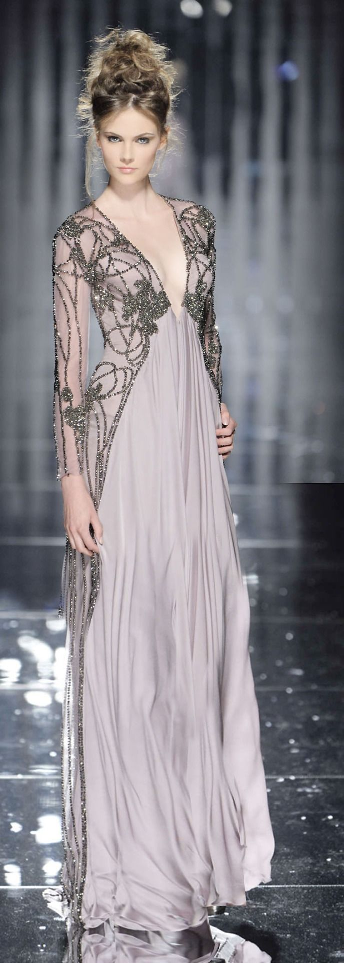 Abed Mahfouz 2015. Maybe buying a simple maxi dress with a nice lace cardigan would create a similar effect.