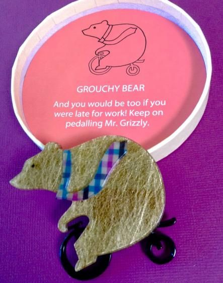 Round She Goes - Market Place - ERSTWILDER Grouchy Bear Brooch