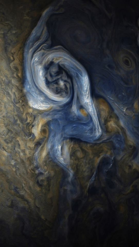 This color-enhanced image of a massive, raging storm in Jupiter's northern hemisphere was captured by NASA's Juno spacecraft during its ninth close flyby of the gas giant planet. This color-enhanced image of a massive, raging storm in Jupiter's northern hemisphere was captured by NASA's Juno spacecraft during its ninth close flyby of the gas giant planet.  The image was taken on Oct. 24, 2017 at 10:32 a.m. PDT (1:32 p.m. EDT)