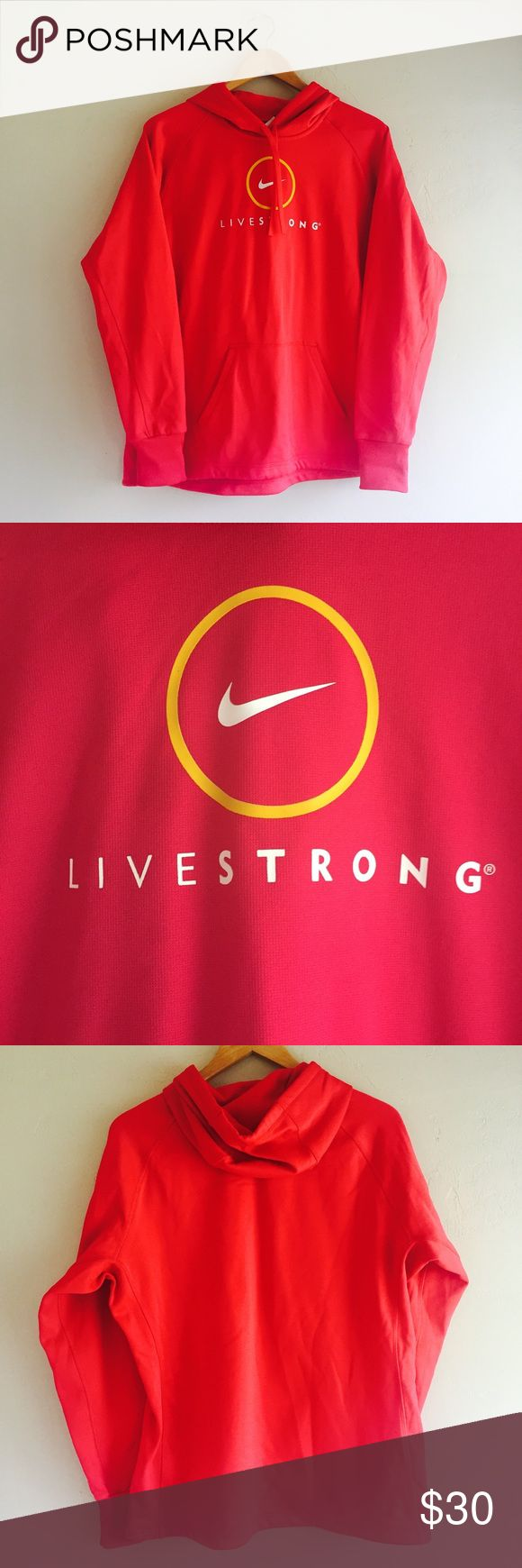 Nike Livestrong Therma Fit Pink Hoodie Sweatshirt Women's Nike Livestrong Therma Fit Pink Fleece Lined Hoodie Sweatshirt  Sz Large 100% polyester  Preowned good condition Nike Tops Sweatshirts & Hoodies
