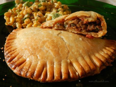 Easy Beef Empanadas Recipe Main Dishes with pie crust, oil, hamburger, diced onions, diced bell pepper, cumin, minced garlic, salt, pepper, chili pepper, cheese, eggs