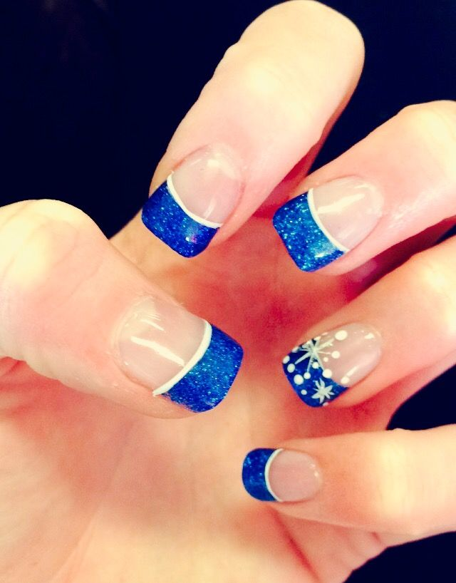 Acrylic Blue Tips Winter Nails Sparkly Simple