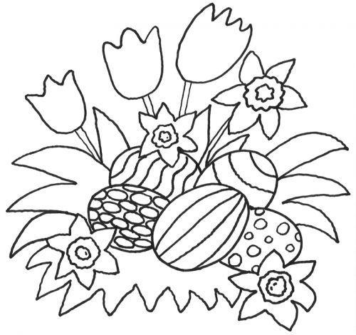Ostern: Kostenlose Malvorlage: Blumen und Ostereier zum Ausmalen
