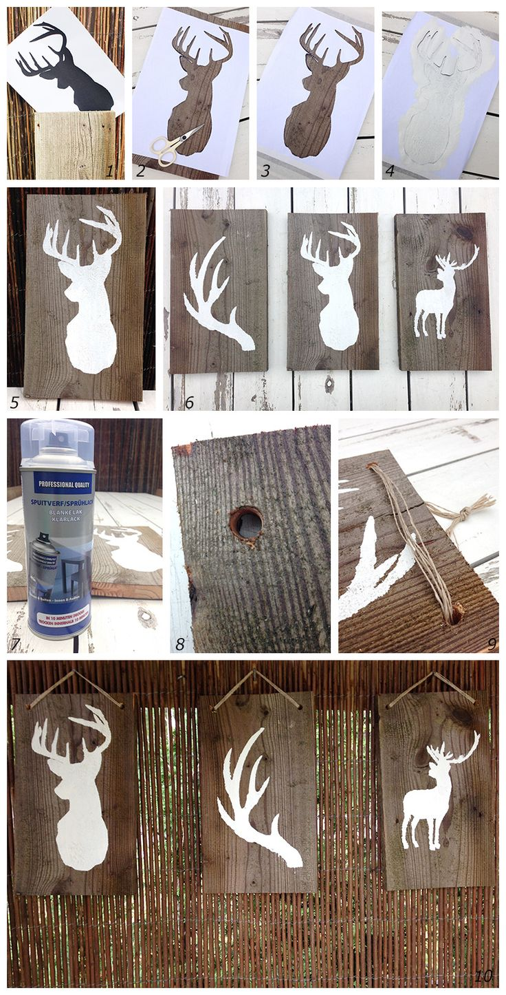 DIY Home and Garden; Deer on wood  (googletranslator on website) or in my case.. other things on wood not deer :)