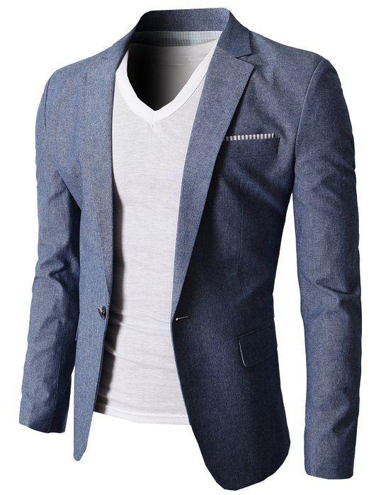 H2H Mens Stylish Slim fit Linen Blazer With One Button BLUE US M/Asia XL (KMOBL061)